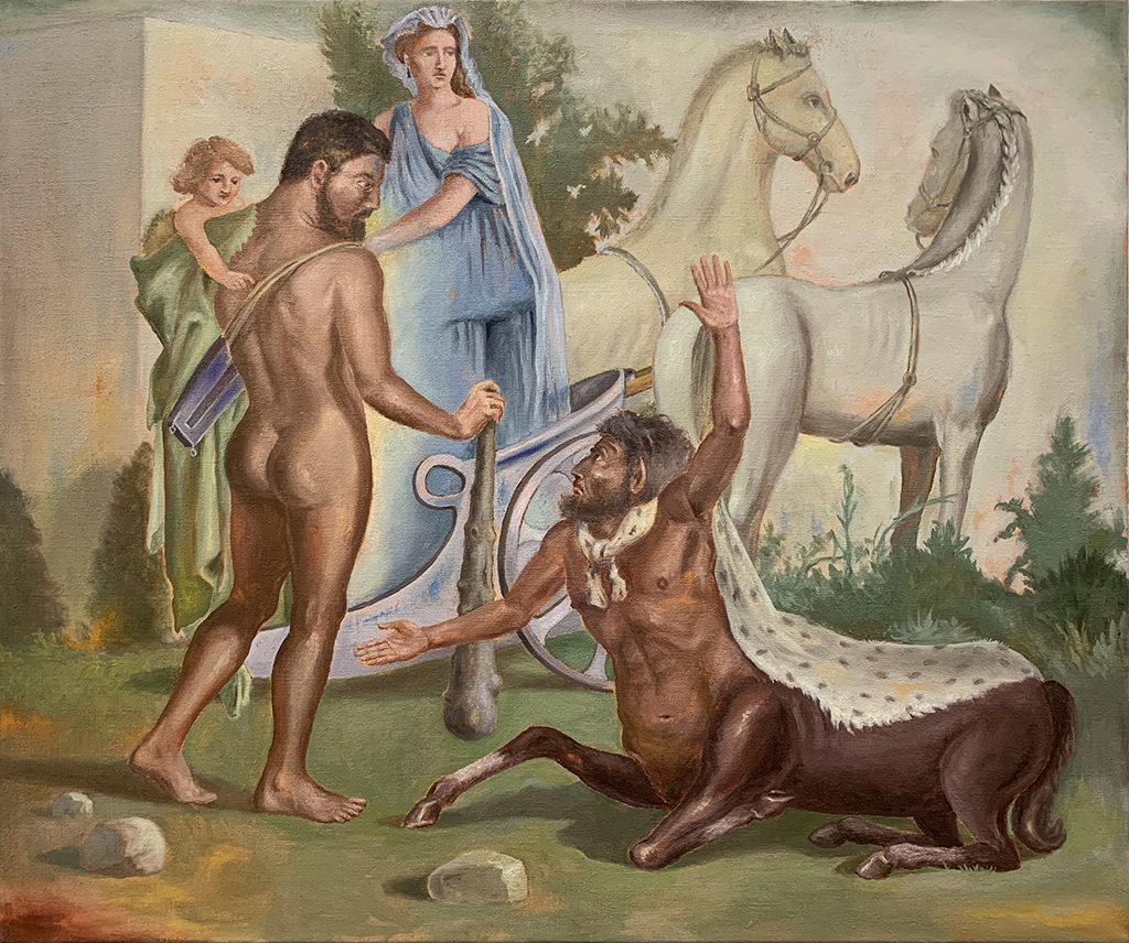 Hercules with the Centaur Nessus • 20 x 24 in • oil on linen • 2018, ©Tony Geiger (After 1st Century Roman Fresco), ©Tony Geiger