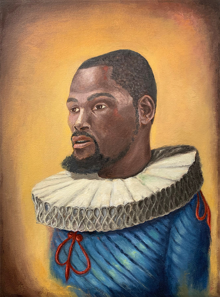 17th Century Basketball Player, KD • 16 x 12 inches • oil on canvas • 2019, ©Tony Geiger